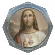 Sacred Heart of Jesus Clear Octagon Rosary Box cm.5.4x 2 1/8""
