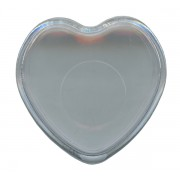 "Heart Shaped Rosary Box Clear cm.4x4 - 1 1/2""x 1 1/2"""