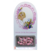 "Girl Communion Set cm. 12x6 - 4 3/4""x2 1/4"" with Rosary Pink 5mm"