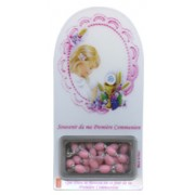 "French Girl Communion Set cm.12x6 - 4 3/4""x2 1/4"" with Rosary Pink 5mm"