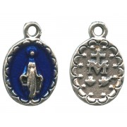 """Miraculous Medal Silver Plated with Blue Enamel mm.10 - 7/16"""""""