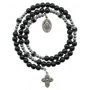 Black Round Bead Wrap a Round Bracelet