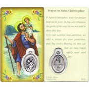 "Prayer to/ St. Christopher Prayer Card with Medal cm.8.5 x 5 - 3 1/4"" x 2"""