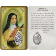"Prayer to/ St.Therese Prayer Card with Medal cm.8.5 x 5 - 3 1/4"" x 2"""