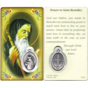 "Prayer to/ St.Benedict Prayer Card with Medal cm.8.5 x 5 - 3 1/4"" x 2"""