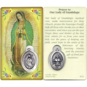 "Prayer to/ Guadalupe Prayer Card with Medal cm.8.5 x 5 - 3 1/4"" x 2"""