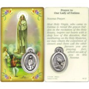 "Prayer to/ Fatima Prayer Card with Medal cm.8.5 x 5 - 3 1/4"" x 2"""
