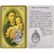 "Prayer to/ St.Anthony Prayer Card with Medal cm.8.5 x 5 - 3 1/4"" x 2"""