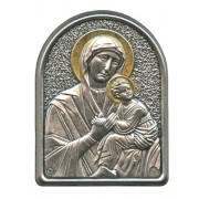 """Perpetual Help Pewter Picture cm. 5.5x4.2- 2 1/8""""x 1 1/2"""""""