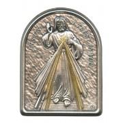 "Divine Mercy Pewter Picture cm. 5.5x4.2- 2 1/8""x 1 1/2"""