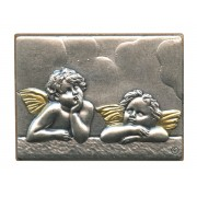 """Guardian Angel Pewter Picture cm. 5.5x4.2- 2 1/8""""x 1 1/2"""""""