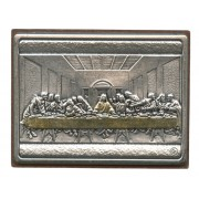 """Last Supper Pewter Picture cm. 5.5x4.2- 2 1/8""""x 1 1/2"""""""