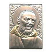 "Padre Pio Pewter Picture cm. 5.5x4.2- 2 1/8""x 1 1/2"""