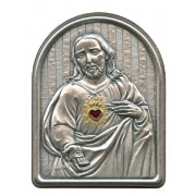 """Sacred Heart of Jesus Pewter Picture cm. 5.5x4.2- 2 1/8""""x 1 1/2"""""""