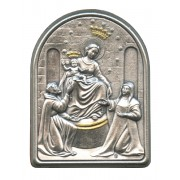"""Our Lady of Pompei Pewter Picture cm. 5.5x4.2- 2 1/8""""x 1 1/2"""""""