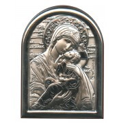 "Perpetual Help Plaque with Stand Brown Frame cm.6x4.5 - 2 1/4""x 1 3/4"""