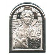 "Pantocrator Plaque with Stand Mother of Pearl Frame cm.6x4.5 - 2 1/4""x 1 3/4"""