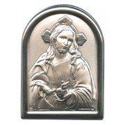"Sacred Heart of Jesus Plaque with Stand Mother of Pearl Frame cm.6x4.5 - 2 1/4""x 1 3/4"""