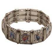 Large Multi-Saints Silver Plated Metal Elastic Bracelet Colour Pictures