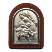 "Mother and Child with Guardian Angel Plaque with Stand Brown Frame cm. 6x7- 2 1/4""x2 3/4"""