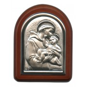 "St.Anthony with Guardian Angel Plaque with Stand Brown Frame cm. 6x7- 2 1/4""x2 3/4"""