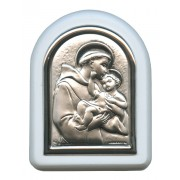 "St.Anthony with Guardian Angel Plaque with Stand White Frame cm. 6x7- 2 1/4""x2 3/4"""