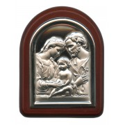 "Holy Family Plaque with Stand Brown Frame cm. 6x7- 2 1/4""x2 3/4"""
