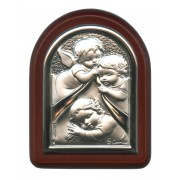 "Guardian Angel Plaque with Stand Brown Frame cm. 6x7- 2 1/4""x2 3/4"""