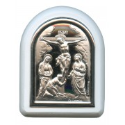 "Crucifixion Plaque with Stand White Frame cm. 6x7- 2 1/4""x2 3/4"""
