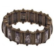 Mother and Child Bronzed Plated Metal Elastic Bracelet Black and White Pictures