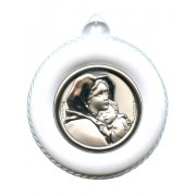 "Crib Medal Ferruzzi White cm.8.5- 3 1/4"""