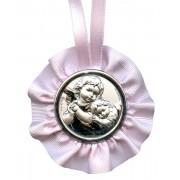 "Crib Medal Guardian Angel Pink cm.9.5- 3 3/4"""