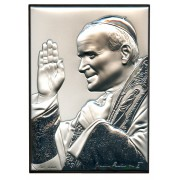 "Pope John Paul II Silver Laminated Picture cm.13x18- 5 1/4"" x7"""