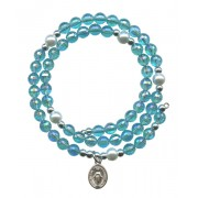 Wraparound Rosary Bracelet mm.6 Aqua