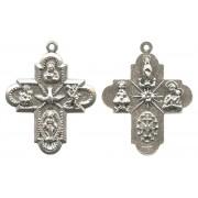 "4 Ways Cross Silver Plated Metal mm.25- 1"""