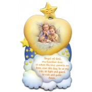"Guardian Angel Angel of God Plaque English cm.17.5x10.5- 7 3/4""x4"""