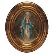 """Miraculous Gold Leaf Oval Picture cm.12.5x10.5- 5""""x4 1/4"""""""