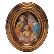 """Holy Family Gold Leaf Oval Picture cm.12.5x10.5- 5""""x4 1/4"""""""