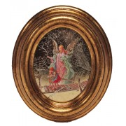 """Guardian Angel Gold Leaf Oval Picture cm.12.5x10.5- 5""""x4 1/4"""""""