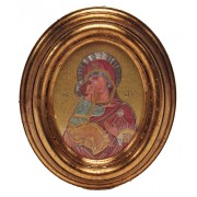 """Mother and Child Gold Leaf Oval Picture cm.12.5x10.5- 5""""x4 1/4"""""""