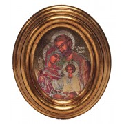 """Icon Holy Family Gold Leaf Oval Picture cm.12.5x10.5- 5""""x4 1/4"""""""