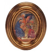 """Nativity Gold Leaf Oval Picture cm.12.5x10.5- 5""""x4 1/4"""""""