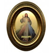 """French Divine Mercy Gold Leaf Oval Picture cm.12.5x10.5- 5""""x4 1/4"""""""