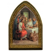 """The Wedding of Cana Gold Leaf Picture Frame Mini Vault cm.18.5x13.5 - 7 1/4""""x5 1/4"""""""