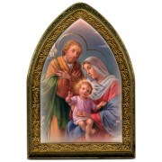 """Holy Family Gold Leaf Picture Frame Mini Vault cm.18.5x13.5 - 7 1/4""""x5 1/4"""""""
