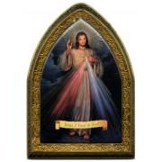"English Divine Mercy Gold Leaf Picture Frame Mini Vault cm.18.5x13.5 - 7 1/4""x5 1/4"""
