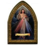 """French Divine Mercy Gold Leaf Picture Frame Mini Vault cm.18.5x13.5 - 7 1/4""""x5 1/4"""""""