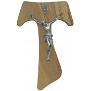 """Olive Wood Crucifix Silver Plated Corpus cm.17- 6 3/4"""""""