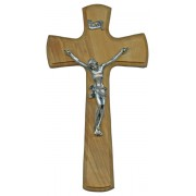 """Olive Wood Crucifix Silver Plated Corpus cm.14- 5 1/2"""""""