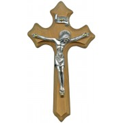 """Olive Wood Crucifix Silver Plated Corpus cm.10- 4"""""""